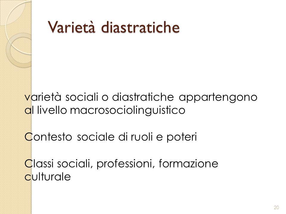 Varietà diastratiche varietà sociali o diastratiche appartengono al livello macrosociolinguistico. Contesto sociale di ruoli e poteri.