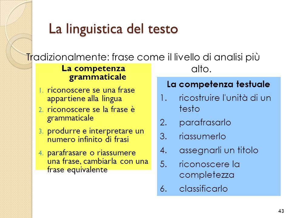 La linguistica del testo