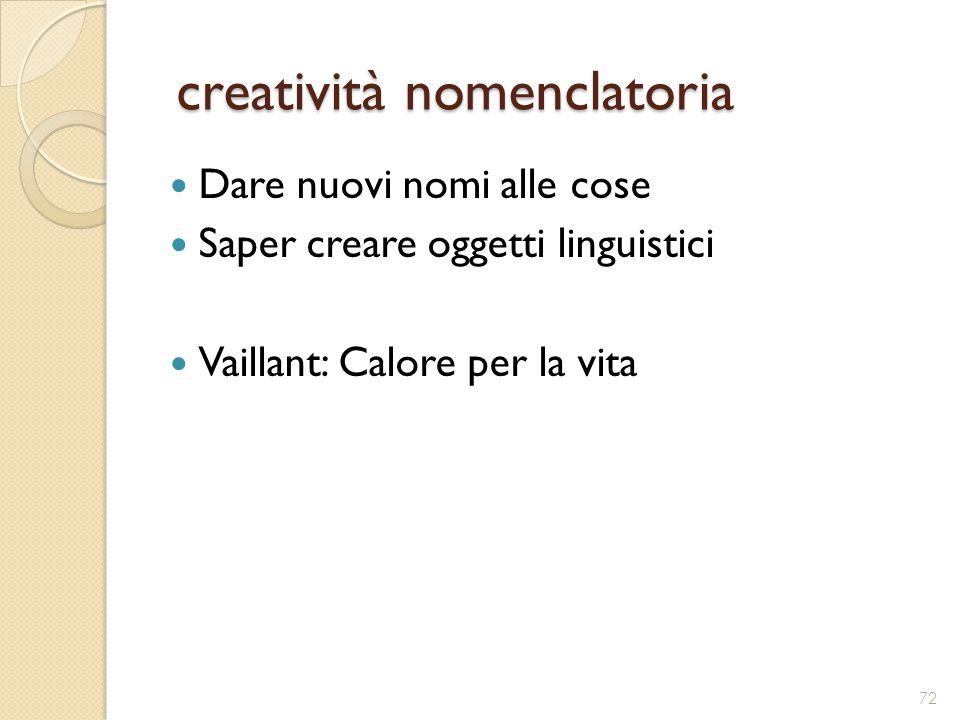 creatività nomenclatoria