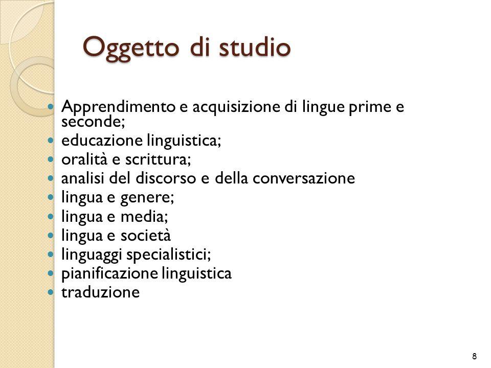 Oggetto di studio Apprendimento e acquisizione di lingue prime e seconde; educazione linguistica;