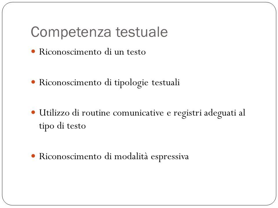 Competenza testuale Riconoscimento di un testo