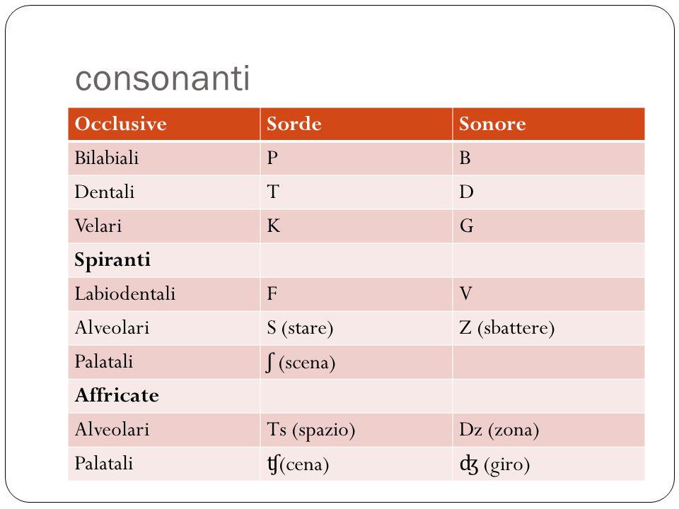 consonanti Occlusive Sorde Sonore Bilabiali P B Dentali T D Velari K G