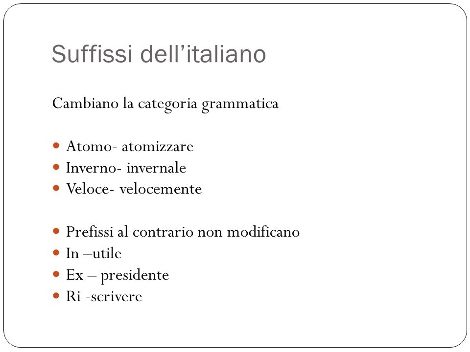 Suffissi dell'italiano