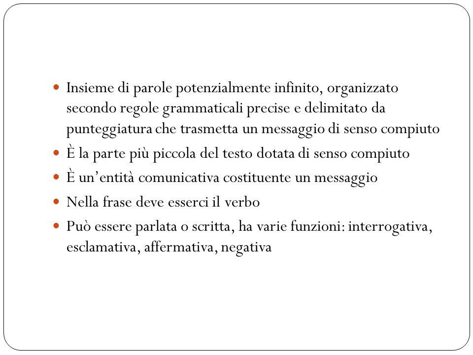 Insieme di parole potenzialmente infinito, organizzato secondo regole grammaticali precise e delimitato da punteggiatura che trasmetta un messaggio di senso compiuto