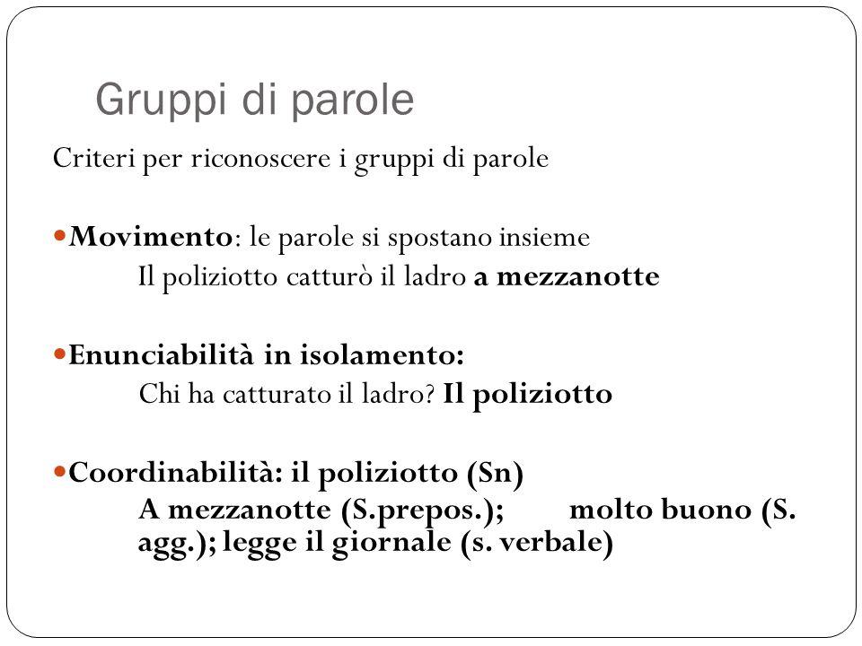 Gruppi di parole Criteri per riconoscere i gruppi di parole