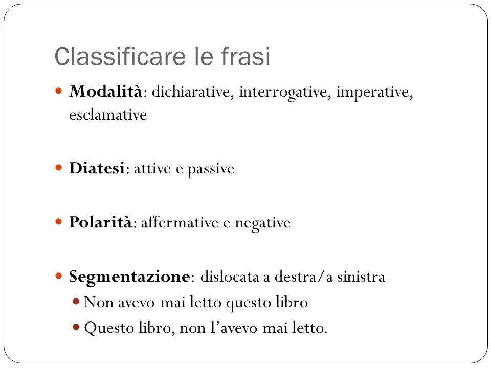 Classificare le frasi Modalità: dichiarative, interrogative, imperative, esclamative. Diatesi: attive e passive.