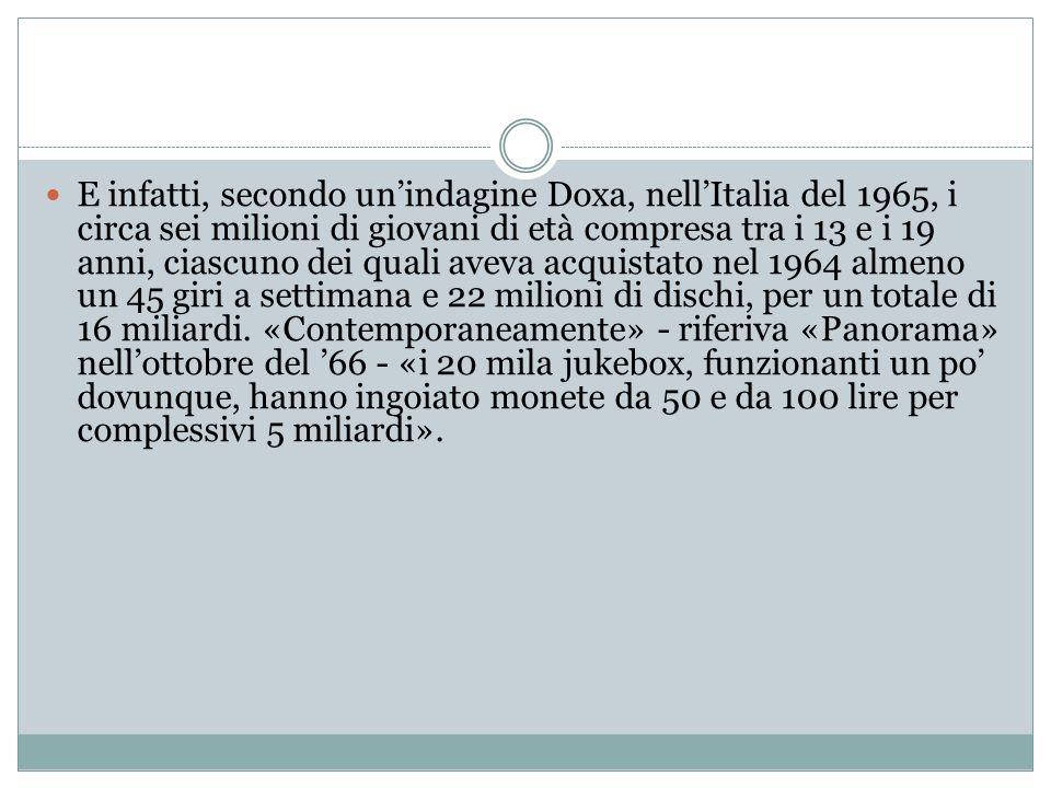 E infatti, secondo un'indagine Doxa, nell'Italia del 1965, i circa sei milioni di giovani di età compresa tra i 13 e i 19 anni, ciascuno dei quali aveva acquistato nel 1964 almeno un 45 giri a settimana e 22 milioni di dischi, per un totale di 16 miliardi.