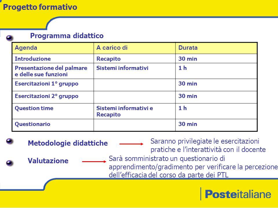 Progetto formativo Programma didattico