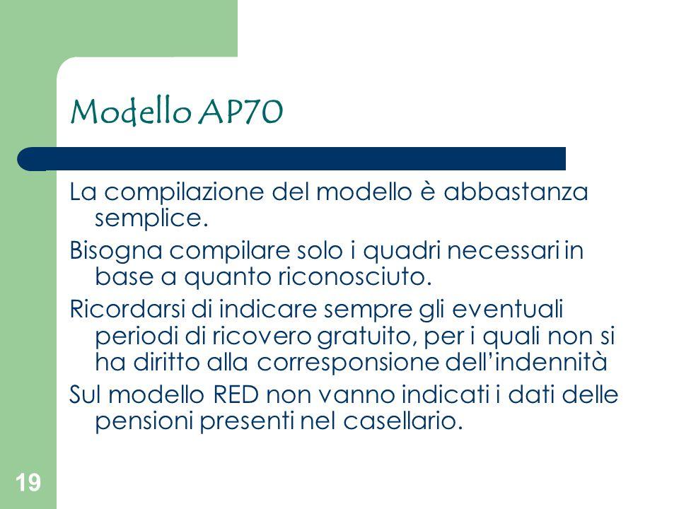 Modello AP70 La compilazione del modello è abbastanza semplice.