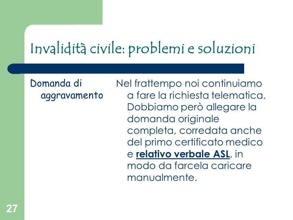 Invalidità civile: problemi e soluzioni