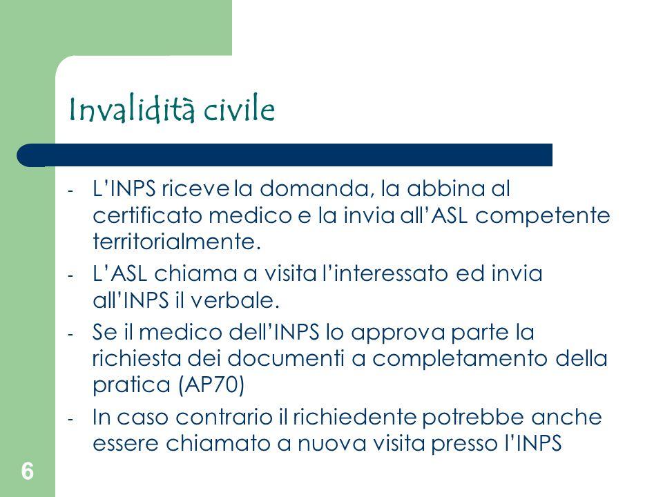 Invalidità civile L'INPS riceve la domanda, la abbina al certificato medico e la invia all'ASL competente territorialmente.