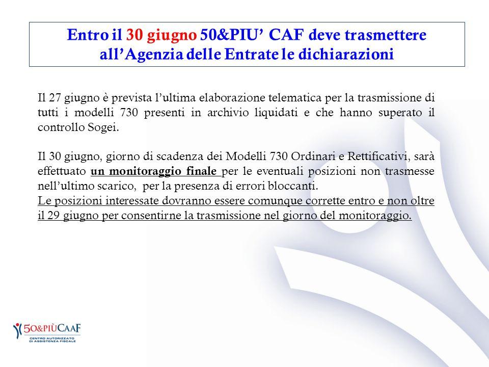 Entro il 30 giugno 50&PIU' CAF deve trasmettere all'Agenzia delle Entrate le dichiarazioni