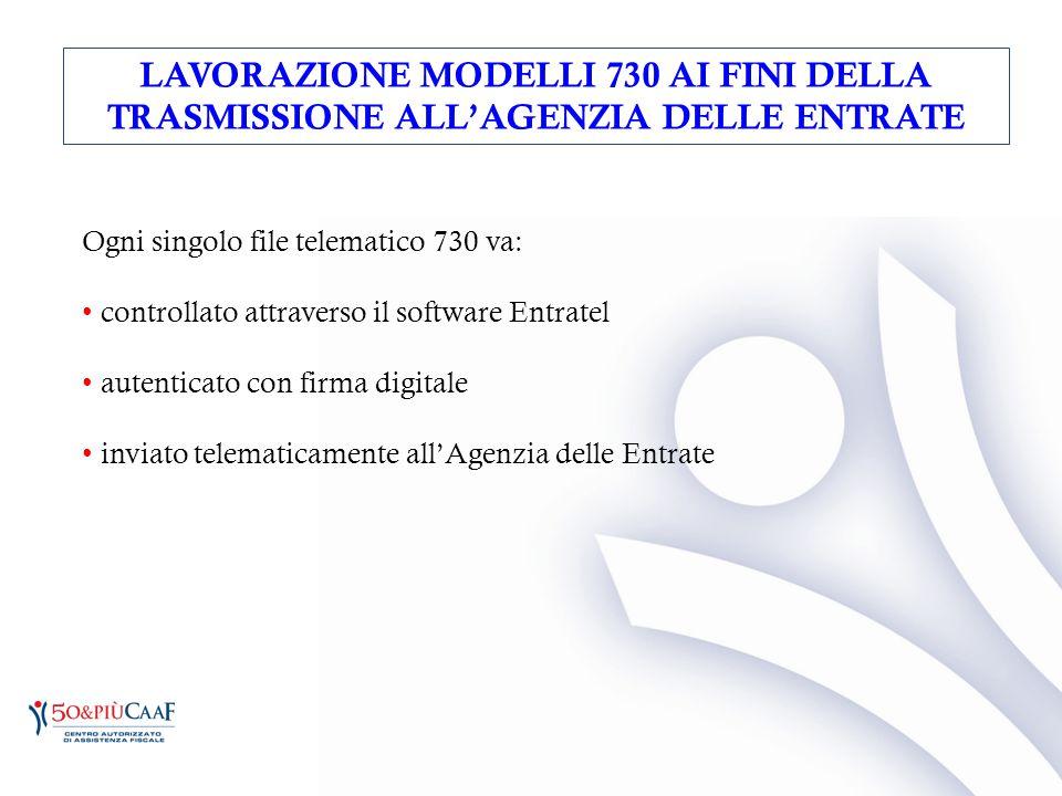 LAVORAZIONE MODELLI 730 AI FINI DELLA TRASMISSIONE ALL'AGENZIA DELLE ENTRATE