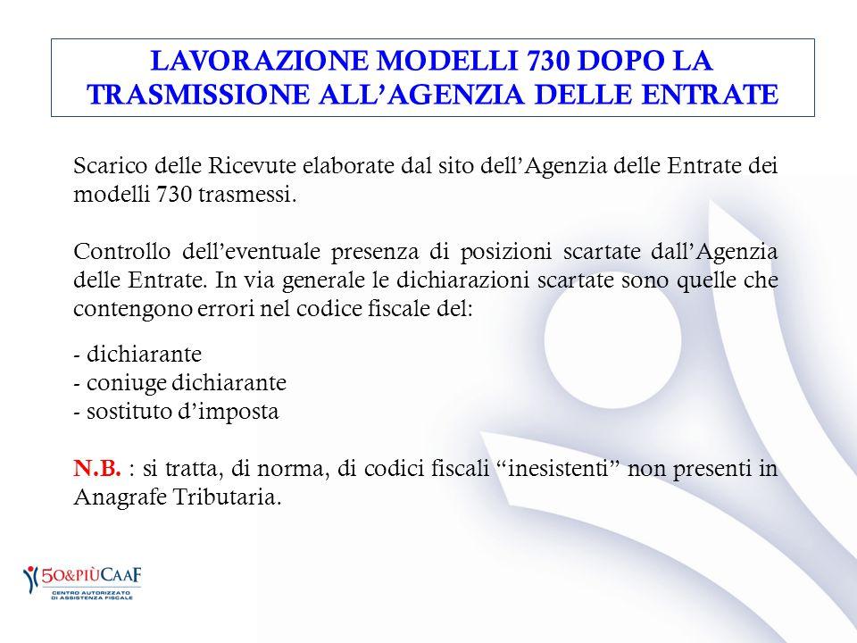 LAVORAZIONE MODELLI 730 DOPO LA TRASMISSIONE ALL'AGENZIA DELLE ENTRATE