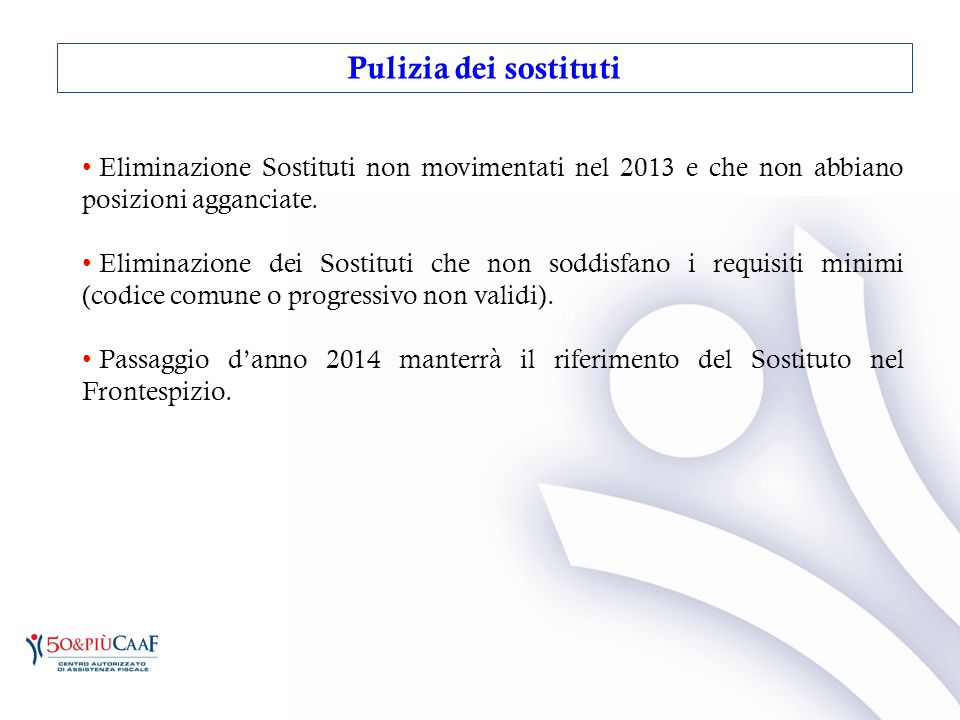 Pulizia dei sostituti Eliminazione Sostituti non movimentati nel 2013 e che non abbiano posizioni agganciate.