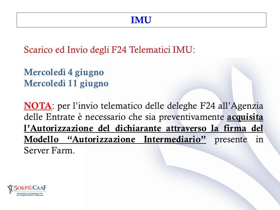 IMU Scarico ed Invio degli F24 Telematici IMU: Mercoledì 4 giugno