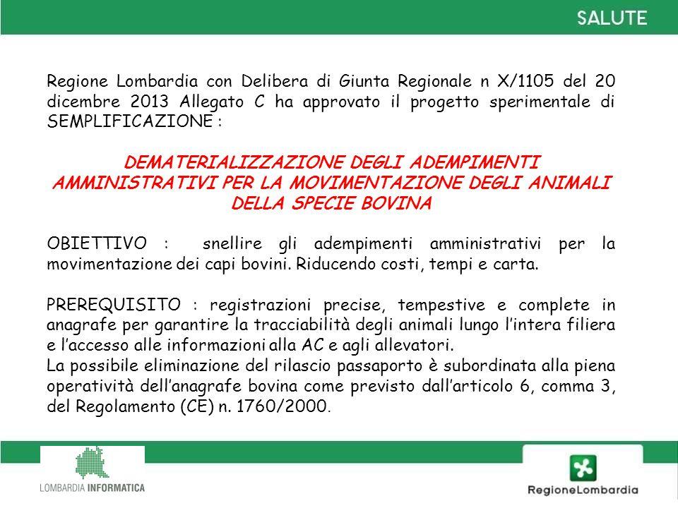 Regione Lombardia con Delibera di Giunta Regionale n X/1105 del 20 dicembre 2013 Allegato C ha approvato il progetto sperimentale di SEMPLIFICAZIONE :