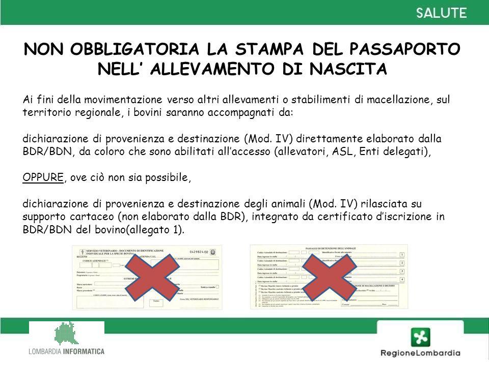 NON OBBLIGATORIA LA STAMPA DEL PASSAPORTO NELL' ALLEVAMENTO DI NASCITA