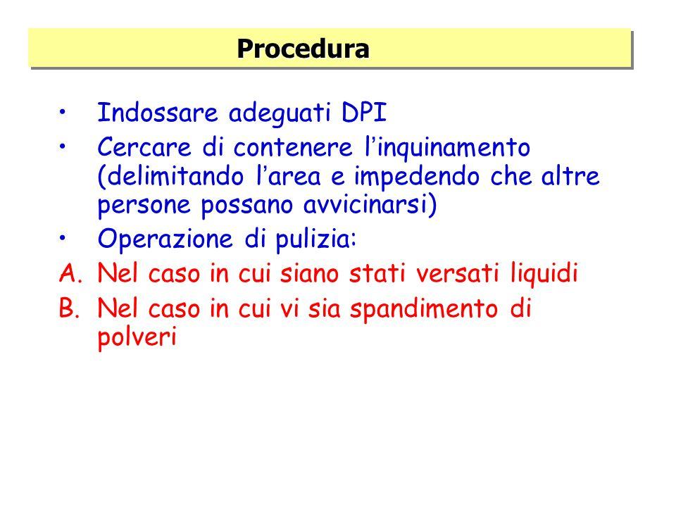 Procedura Indossare adeguati DPI. Cercare di contenere l'inquinamento (delimitando l'area e impedendo che altre persone possano avvicinarsi)