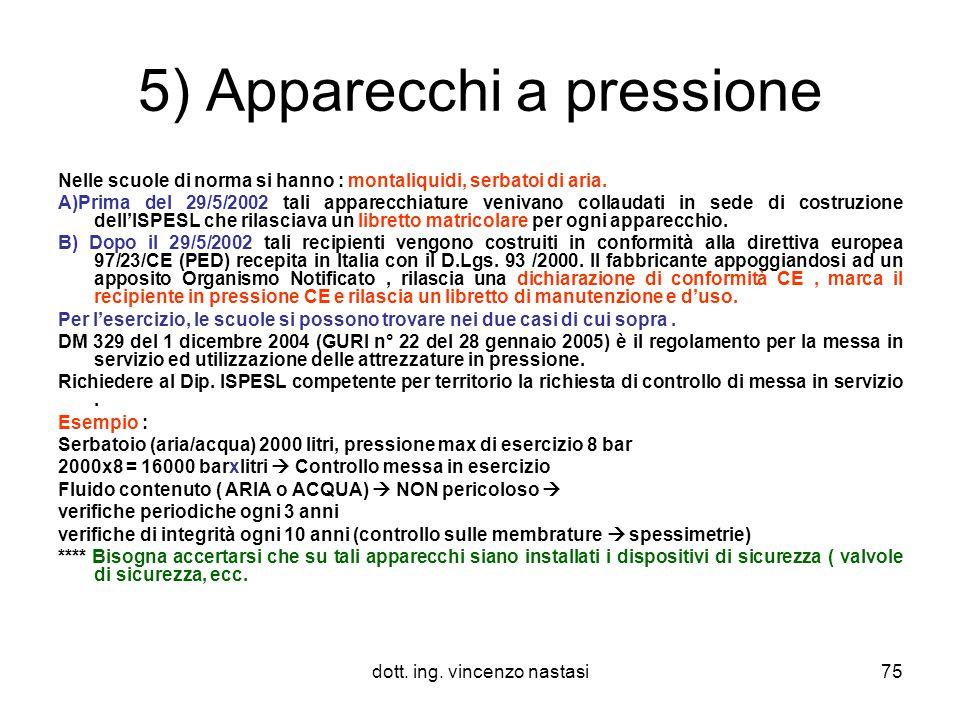 5) Apparecchi a pressione
