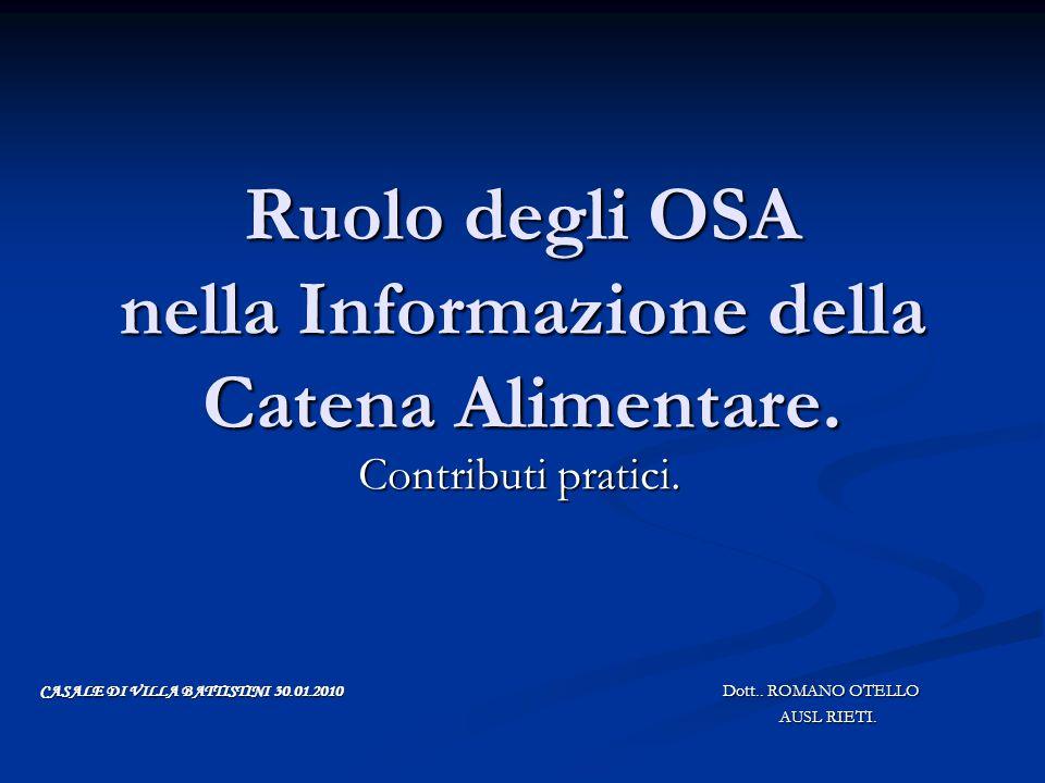 Ruolo degli OSA nella Informazione della Catena Alimentare.