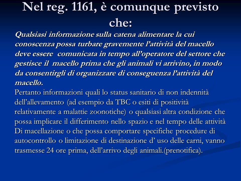 Nel reg. 1161, è comunque previsto che: