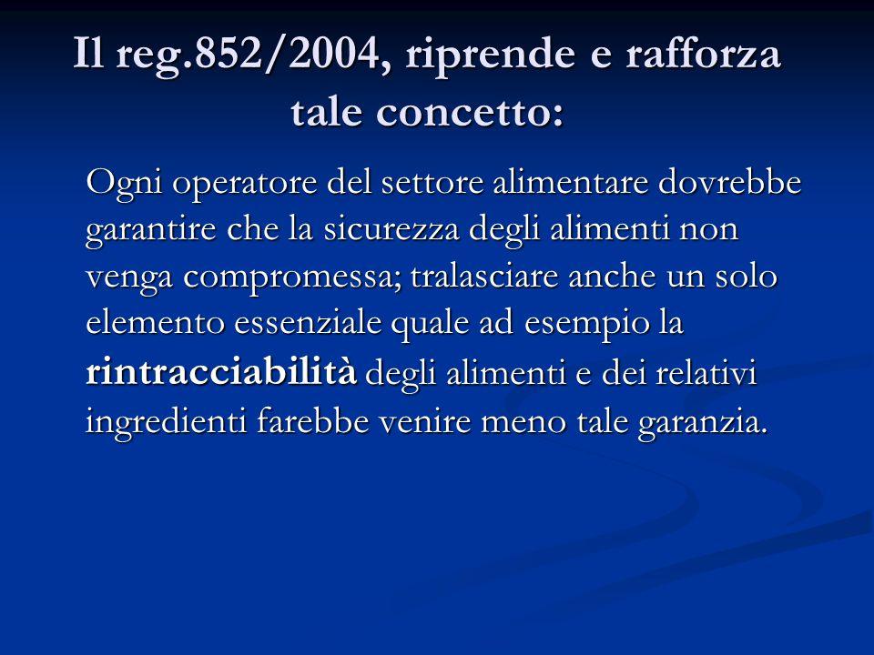 Il reg.852/2004, riprende e rafforza tale concetto: