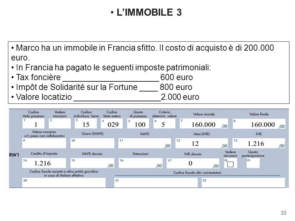 L'IMMOBILE 3 Marco ha un immobile in Francia sfitto. Il costo di acquisto è di 200.000 euro. In Francia ha pagato le seguenti imposte patrimoniali: