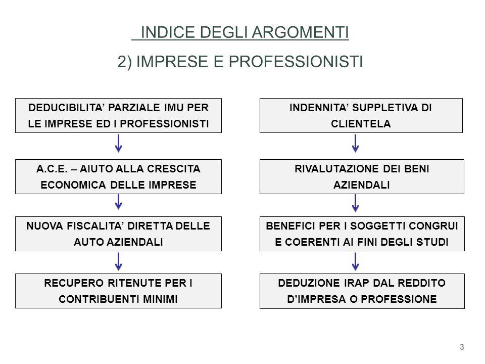 INDICE DEGLI ARGOMENTI 2) IMPRESE E PROFESSIONISTI