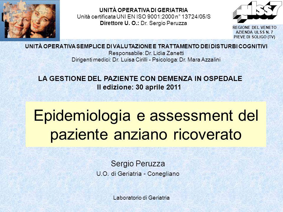 Epidemiologia e assessment del paziente anziano ricoverato