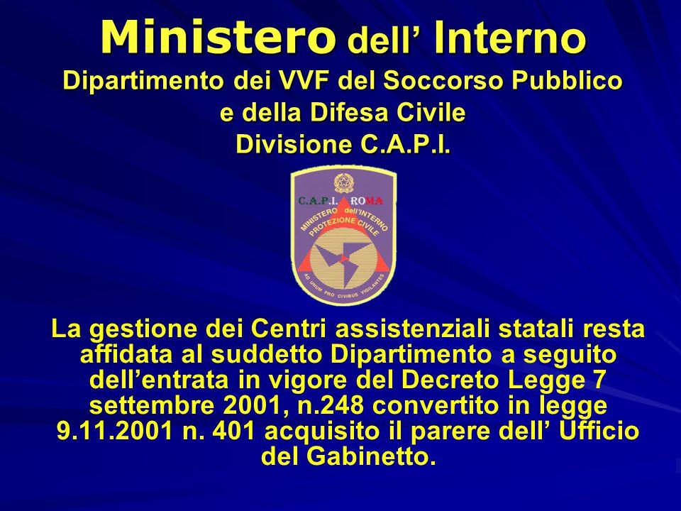 Ministero dell' Interno Dipartimento dei VVF del Soccorso Pubblico e della Difesa Civile Divisione C.A.P.I.