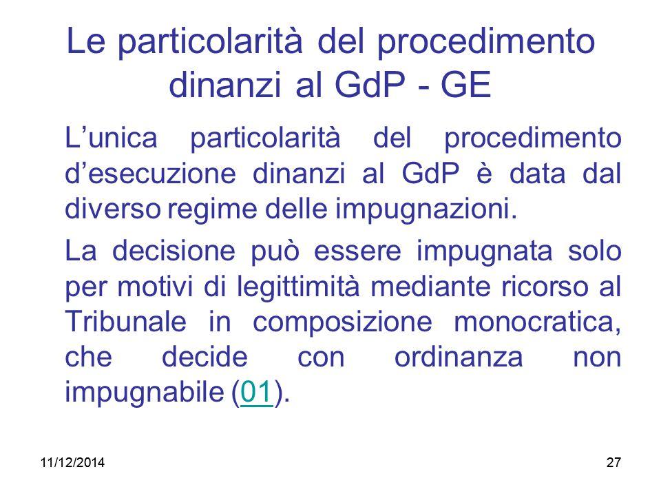 Le particolarità del procedimento dinanzi al GdP - GE