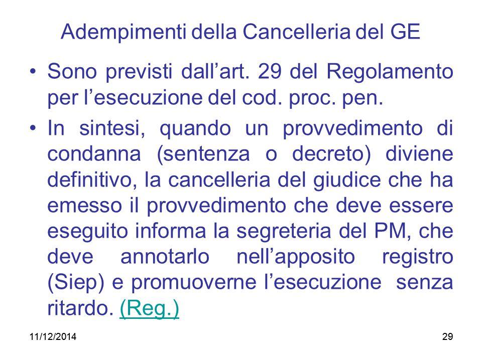 Adempimenti della Cancelleria del GE