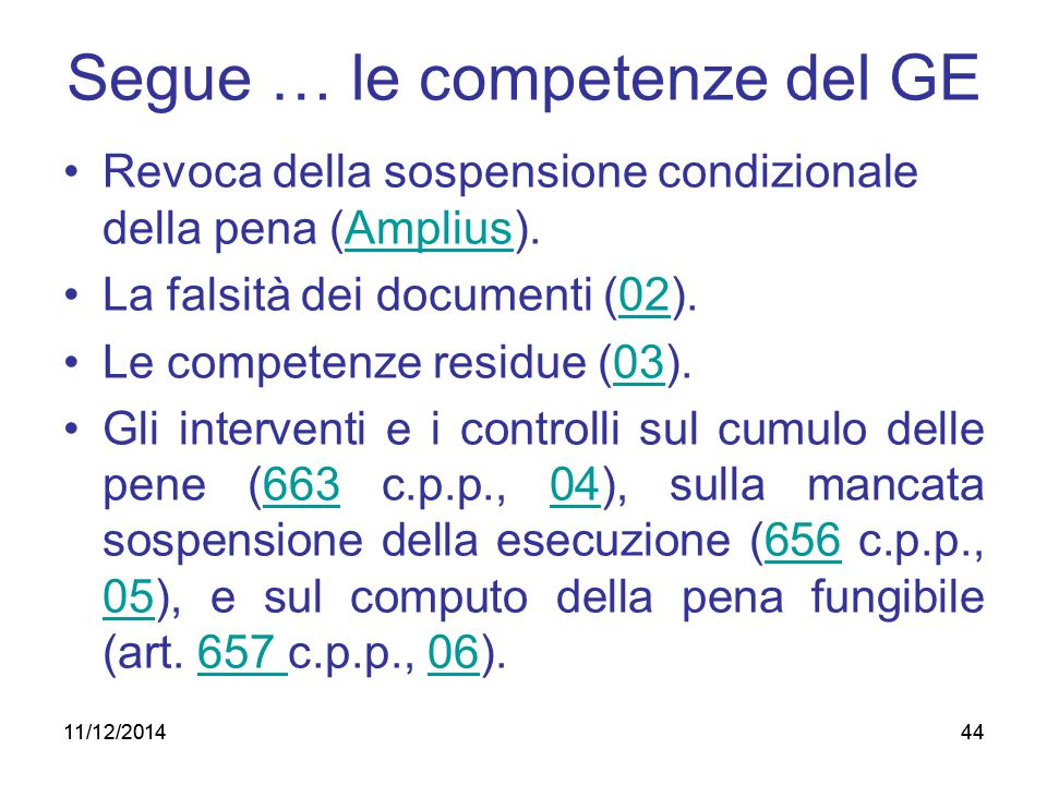 Segue … le competenze del GE