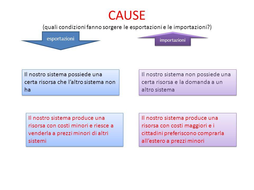 CAUSE (quali condizioni fanno sorgere le esportazioni e le importazioni )