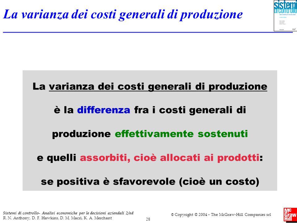La varianza dei costi generali di produzione