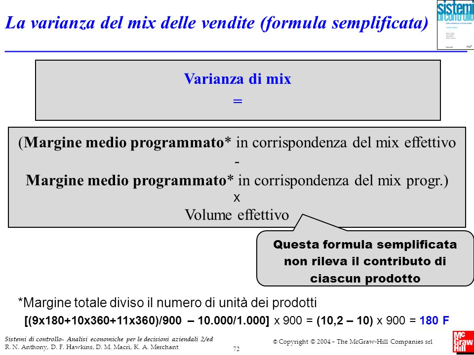 La varianza del mix delle vendite (formula semplificata)