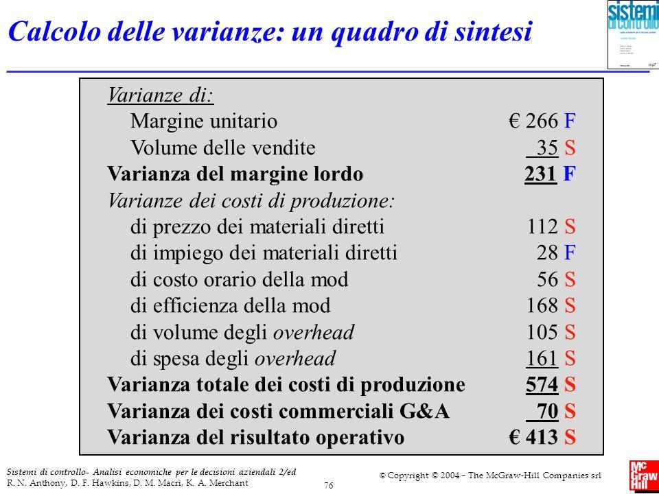 Calcolo delle varianze: un quadro di sintesi