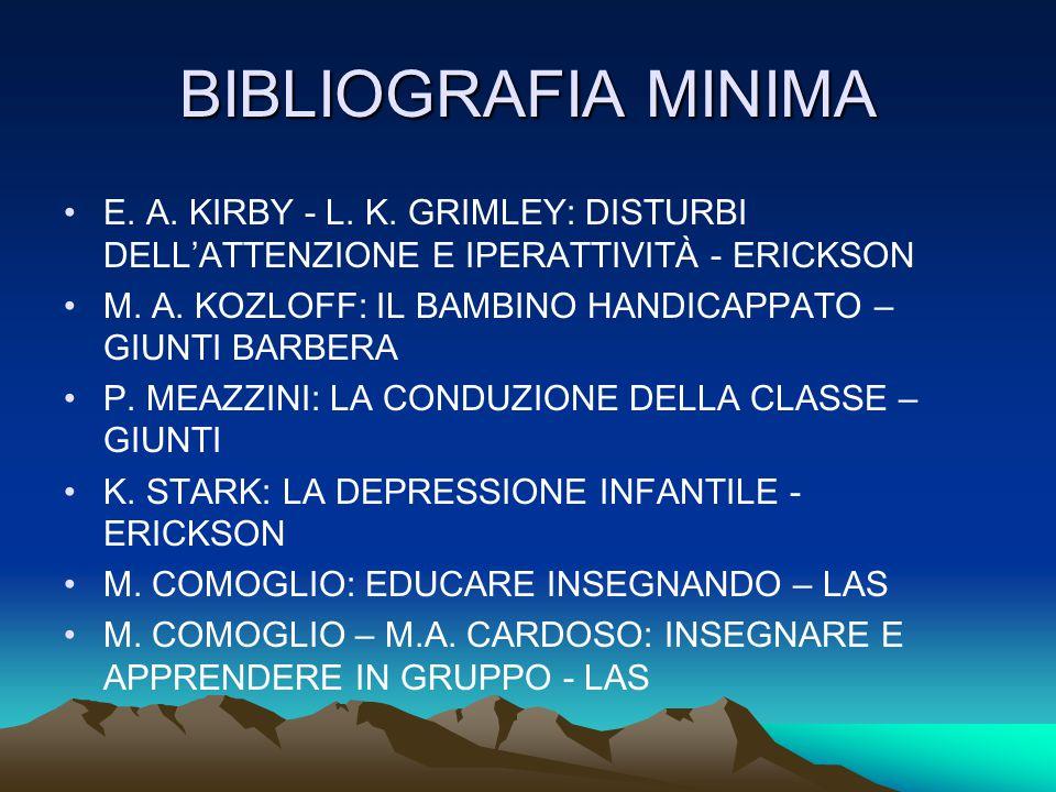 BIBLIOGRAFIA MINIMA E. A. KIRBY - L. K. GRIMLEY: DISTURBI DELL'ATTENZIONE E IPERATTIVITÀ - ERICKSON.