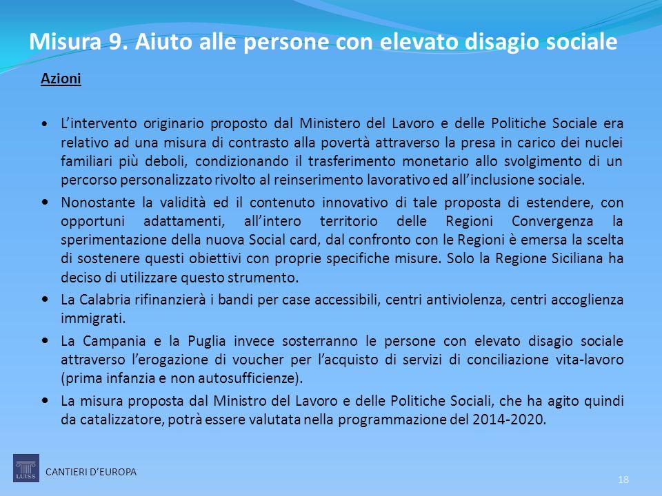 Misura 9. Aiuto alle persone con elevato disagio sociale