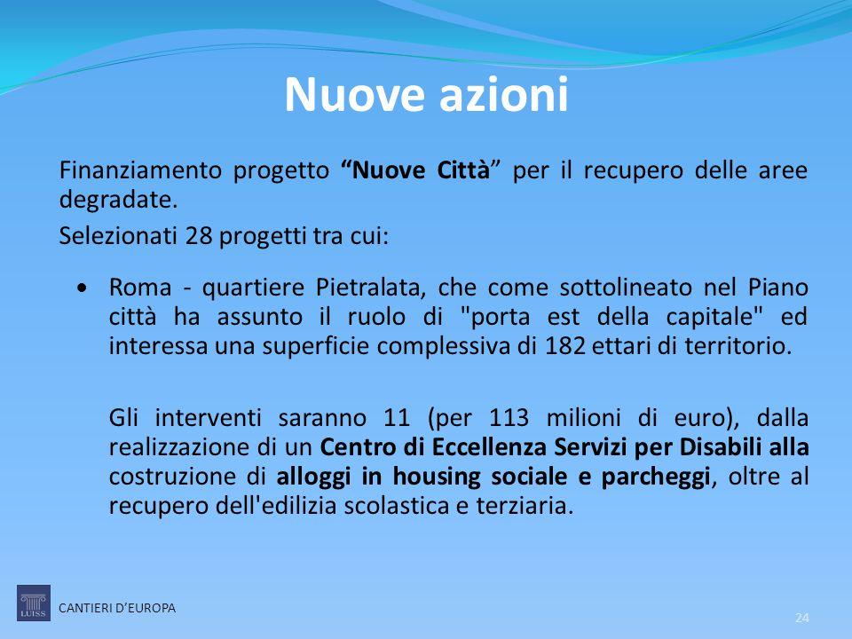 Nuove azioni Finanziamento progetto Nuove Città per il recupero delle aree degradate. Selezionati 28 progetti tra cui: