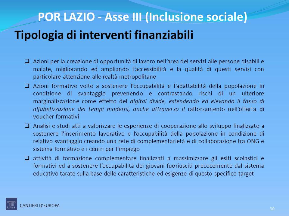 Tipologia di interventi finanziabili