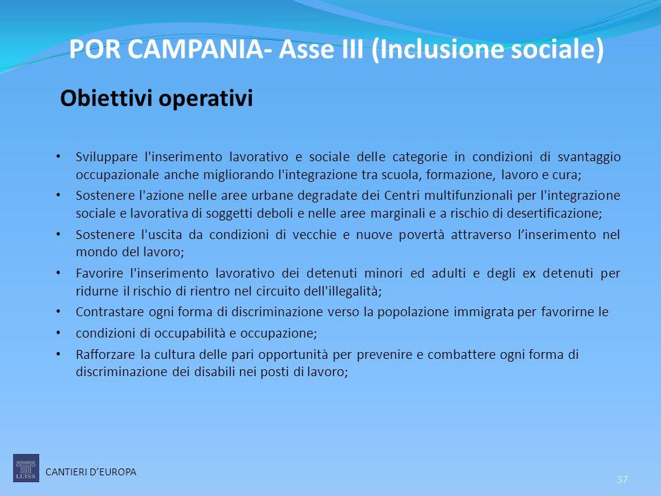 POR CAMPANIA- Asse III (Inclusione sociale)