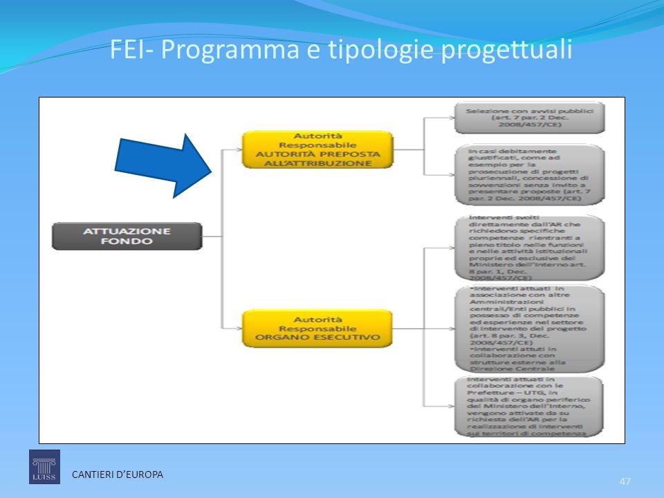 FEI- Programma e tipologie progettuali