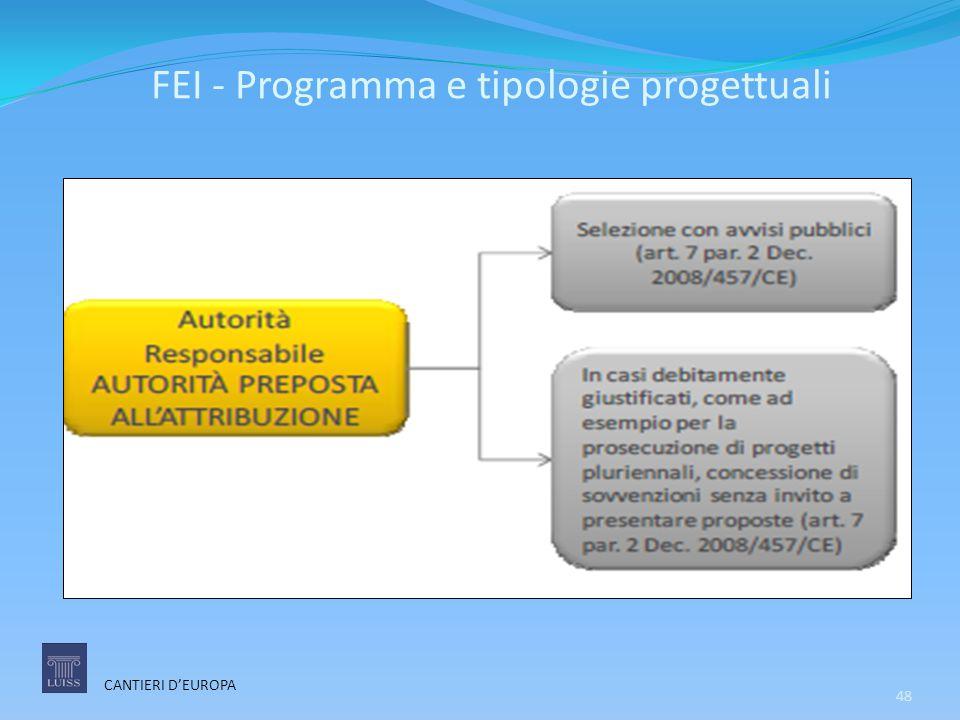 FEI - Programma e tipologie progettuali