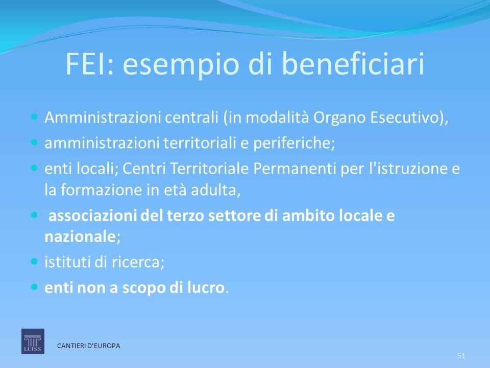 FEI: esempio di beneficiari