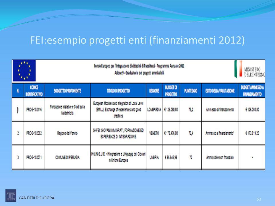 FEI:esempio progetti enti (finanziamenti 2012)