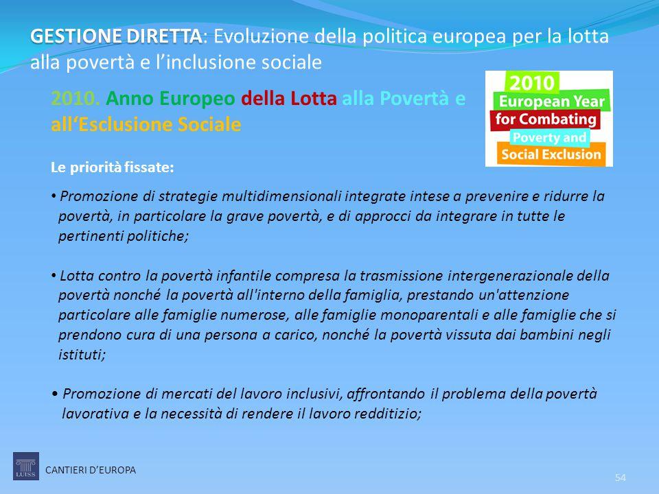 2010. Anno Europeo della Lotta alla Povertà e all'Esclusione Sociale