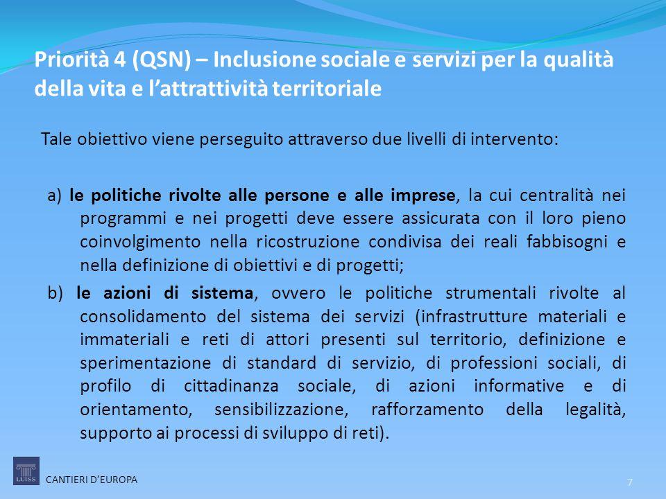 Priorità 4 (QSN) – Inclusione sociale e servizi per la qualità della vita e l'attrattività territoriale