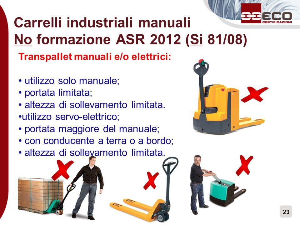 Carrelli industriali manuali No formazione ASR 2012 (Si 81/08)